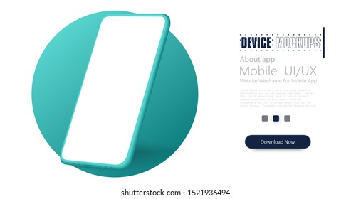 Smartphone frameless blank screen. Mockup generic device. Vector realistic green smartphone template. Telephone frame with blank display isolated. Fashionable, modern color 2020.