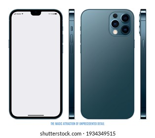smartphone frameless blue color with blank screen saver front, back and side view isolated on white background. mockup of realistic and detailed new mobile phone. stock vector illustration