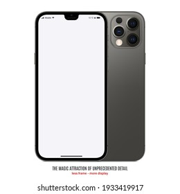 smartphone frameless grey color with blank screen saver front and backside view isolated on white background. mockup of realistic and detailed new mobile phone with shadow. stock vector illustration
