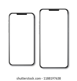 Smartphone frameless small and max size side by side blank screen perspective view - isolated on white background vector eps 10