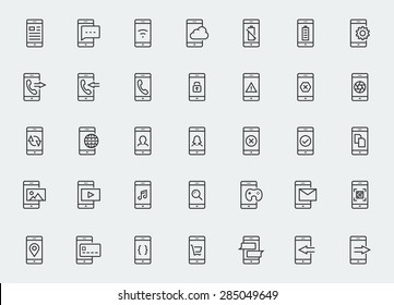 Smart-phone functions and apps vector icon set in outline style
