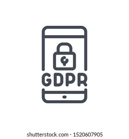 Smartphone with GDPR certification line icon. Mobile phone with lock and data protection vector outline sign.