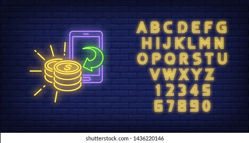 Smartphone and golden coins neon sign. Technology and mobile payment design. Night bright neon sign, colorful billboard, light banner. Vector illustration in neon style.
