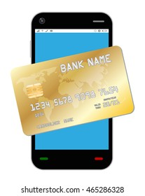 smartphone with golden credit card