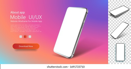 Smartphone, great design for any purposes. Realistic cell phone can be a template for infographics, presentation of interface. Frame less smartphone. Vector Illustration UI/UX design. Mockup template