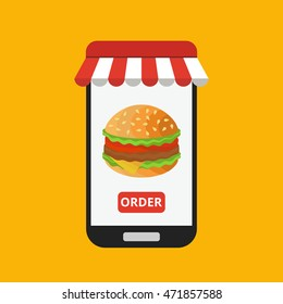 Smartphone with hamburger on the screen. Order fast food concept. Flat vector illustration.