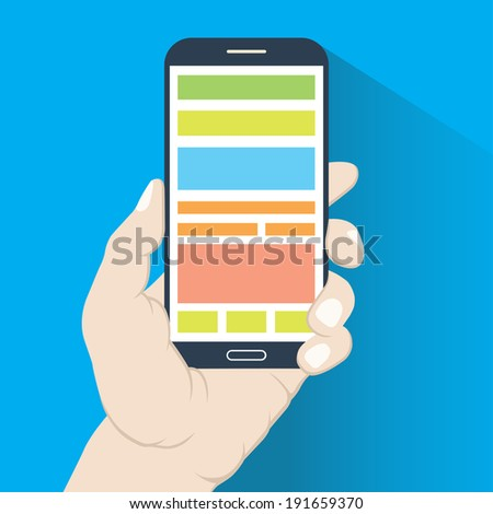 Smartphone in hand in flat design style isolated on blue background