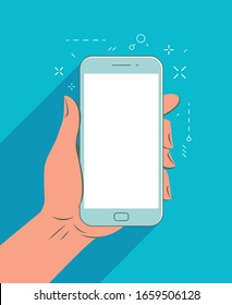 Smartphone in hand. Mobile app vector illustration