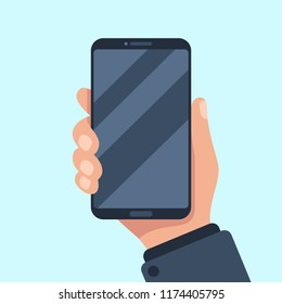 Smartphone in hand. Mobile phone holding in businessman hands. Smart cellphone digital display device showing in arm gadget template for present app flat vector illustration