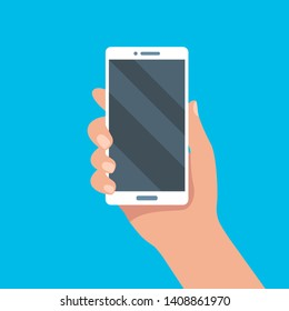 Smartphone in hand. Mobile phone holding in hands. Cellphone, digital, device, template for present app. Flat style, vector illustration.