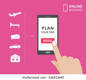Smartphone with hand touching book button on screen. Online booking design elements: hotel, flight, car, tickets. Plan a trip concept for mobile phone.