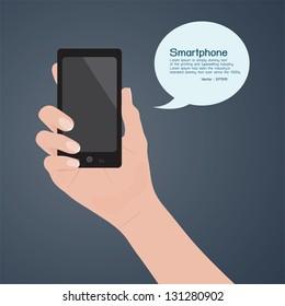 Smartphone in hand, vector