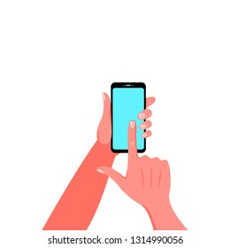 Smartphone in hand. Vector illustration