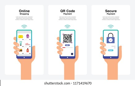 Smartphone Hand Vectors - Online Shopping, QR Code Payment, Secure Payment Concept, New And Modern Trends. Can Use For Marketing and Promotion, Web, Mobile, Infographics, Editorial, Commercial Use And