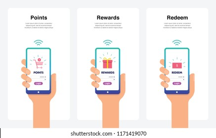 Smartphone Hand Vectors - Shopping Rewards, Points, Redeem Concept, New And Modern Trends. Can Use For Marketing and Promotion, Web, Mobile, Infographics, Editorial, Commercial Use And Others. Vector.