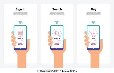 Smartphone Hand Vectors - Shopping Sign In, Search, Buy Concept, New And Modern Trends. Can Use For Marketing and Promotion, Web, Mobile, Infographics, Editorial, Commercial Use And Others. Vector.