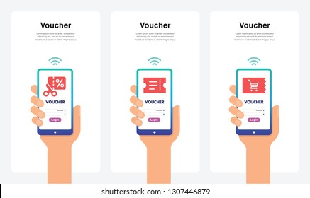 Smartphone Hand Vectors - Voucher, New And Modern Trends. Can Use For Marketing and Promotion, Web, Mobile, Infographics, Editorial, Commercial Use And Others. Vector.