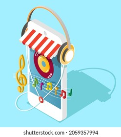 Smartphone with headphones and music notes, flat vector isometric illustration. Online music store.