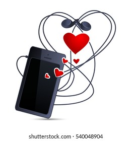 Smartphone and headphones on a white background. Mobile phone with a blank screen, headphones in the form of heart. Cell Phone layout design. Vector illustration.