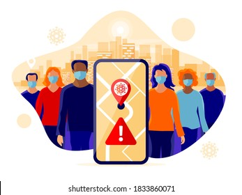 Smartphone health tracking location app with people wearing protection face mask to prevent covid coronavirus, disease, flu. Group person standing in city. Map location contact tracing mobile phone.