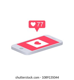 Smartphone with heart icon on screen. Phone and push notifications. Vector phone and social networking. Vector illustration.