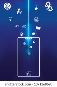 smartphone hi technology background draw  apps icon into smartphone