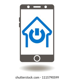 Smartphone House Power Switch Button Icon Vector. Smart Home Mobile Control Illustration. Mobility Application Management House Logo. IOT Symbol.