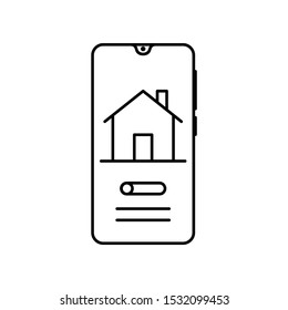 Smartphone house smart home icon. Simple line, outline vector of smartphone icons for ui and ux, website or mobile application