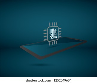 Smartphone Icon 3D Isometric Low Poly Flat Design with free form gradient. Vector illustration with microchip art