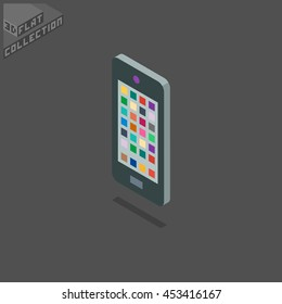 Smartphone Icon. 3D Isometric Low Poly Flat Design. Vector illustration.