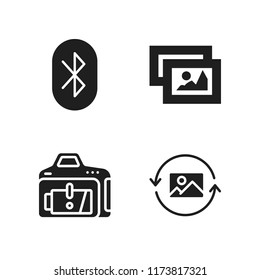 smartphone icon. 4 smartphone vector icons set. picture, bluetooth and low battery icons for web and design about smartphone theme