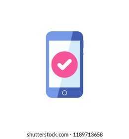 Smartphone icon, Cellphone, handphone icon with check sign. Smartphone icon and approved, confirm, done, tick, completed symbol. Vector