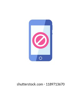 Smartphone icon, Cellphone, handphone icon with not allowed sign. Smartphone icon and block, forbidden, prohibit symbol. Vector