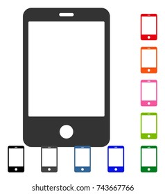 Smartphone icon. Flat grey pictogram symbol in a blue rounded squared frame. Black, gray, green, blue, red, orange color versions of Smartphone vector. Designed for web and application interfaces.