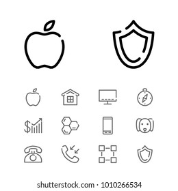Smartphone icon with honey, home and shield editable symbols. Set of telephone, call, smart tv icons and profit concept. Editable vector elements for logo app UI design.