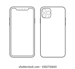 smartphone  icon in iphone style on white background  vector illustration. Mobile phone line icon.
