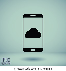 Smartphone icon with isolated blank screen. Modern simple flat telephone sign. Internet concept.