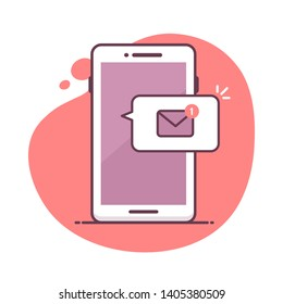 Smartphone icon with mail message notification vector illustration in mono line art style