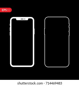 Smartphone icon. Phone, mobile icon isolated on black background with empty screen. Front and back flat view realistic vector illustration phone with white color.