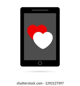 Smartphone icon, phone symbol, modern design. Vector illustration with heart icon.