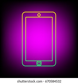 Smartphone icon. Phone icon. Vector. Yellow-green gradient linear icon on magenta light as background