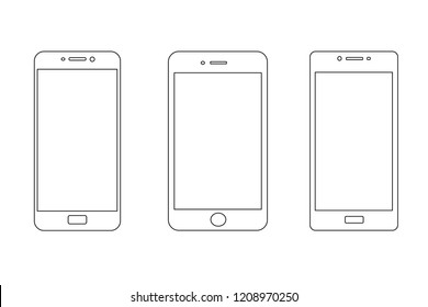 Smartphone icon set with button isolated on white background. Vector design element