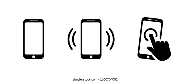Smartphone icon set in flat style isolated on white. Mobile phone with hand symbol. Ringing or vibrating phone icon. Simple click sign in black. Vector illustration for graphic design, logo, Web, UI.