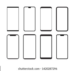 Smartphone icon set silhouette in vector format