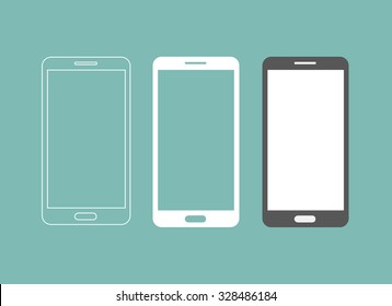 Smartphone icon in three different styles