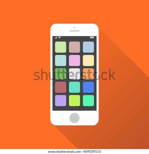 Smartphone Icon Vector Illustration On Orange Stock Vector