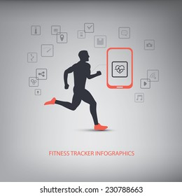 Smartphone icons for monitoring health and fitness with man running silhouette. Eps10 vector illustration