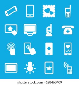 Smartphone icons set. set of 16 smartphone filled icons such as baby monitor phone, Poker on phone, photo with heart, touchscreen, tablet, display, camera bulb