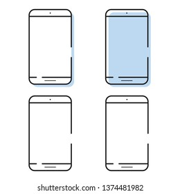 Smartphone icons set in simple line style. Outline cell phone vector.