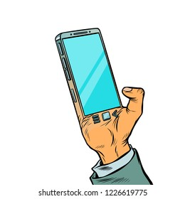 smartphone is implanted in the human body. Biohacking. Comic cartoon pop art retro vector illustration drawing
